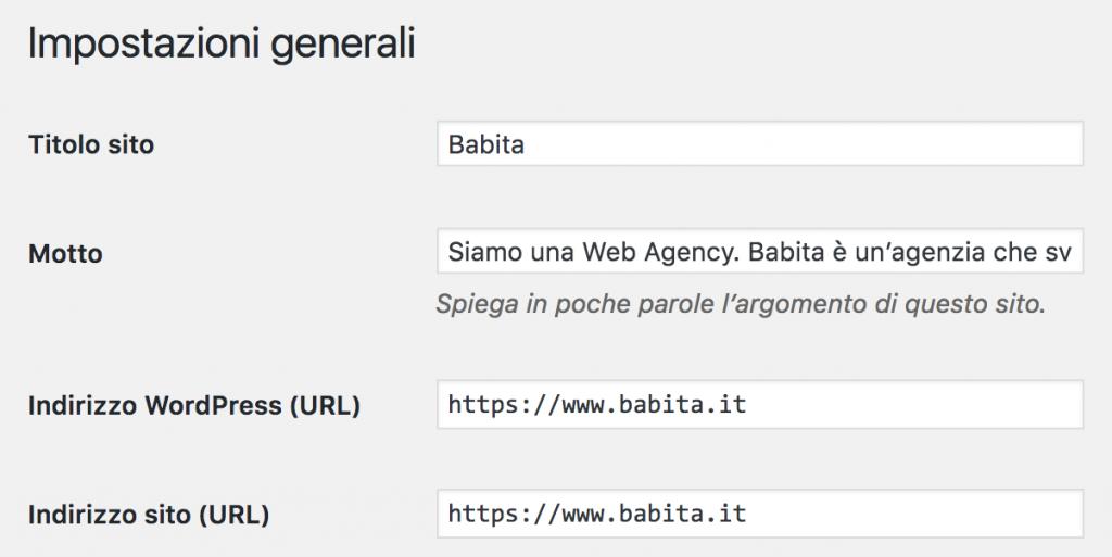 immagine di impostazioni generali WordPress